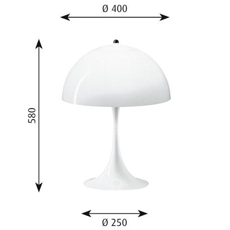 Afmetingen Louis Poulsen Panthella Tafellamp
