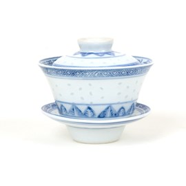 Set van 4 Oriental Thee Bekers Rijstkorrel