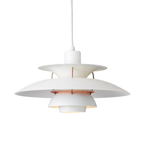 Louis Poulsen PH 5 Contemporary Hanglamp in White/Pale Rose