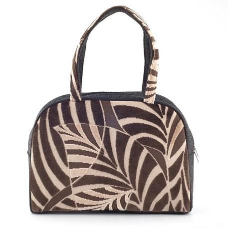 Handtas met palmmotief in chocolade, gecombineerd met vilt.