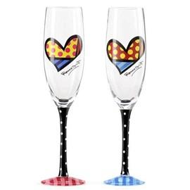 Set van 2 Champagneglazen Hearts - Romero Britto