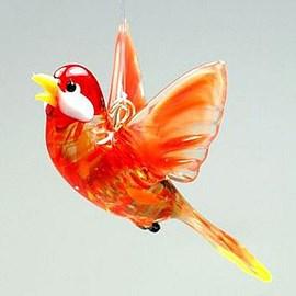 Glassculptuur Vliegend Rood Vogeltje