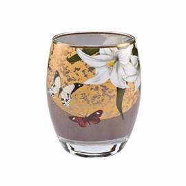 Theelicht Lelies en Vlinders Grijs