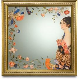 Spiegel Dame met waaier | Klimt