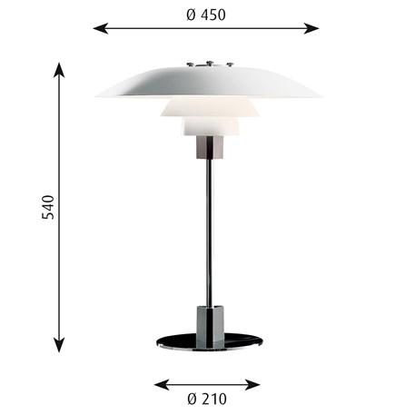 Afmetingen Louis Poulsen PH 4/3 Tafellamp Metaal
