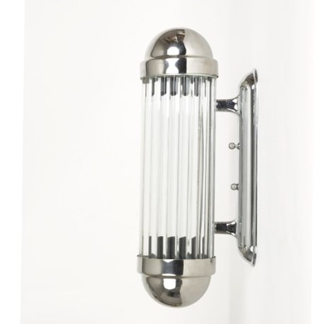 Zij aanzicht wandlamp Astoria met glanzend chroom armatuur en glas staafjes