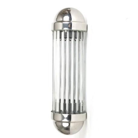 Vooraanzicht wandlamp Astoria met glas staafjes en glanzend chroom armatuur