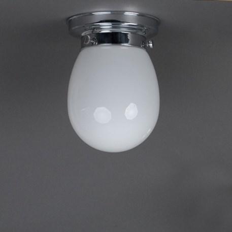 Badkamerlamp plafonniere met druppelvormige, opaal witte glaskap