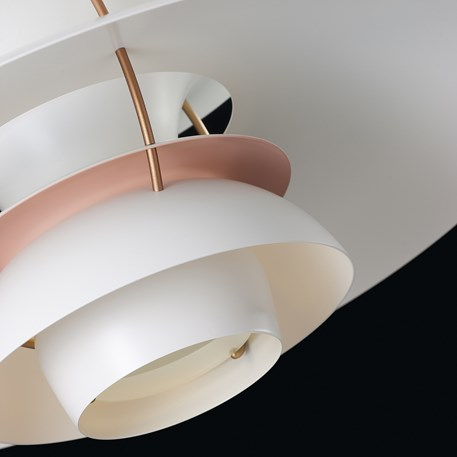 Detail Louis Poulsen PH 5 Contemporary Hanglamp in White/Pale Rose