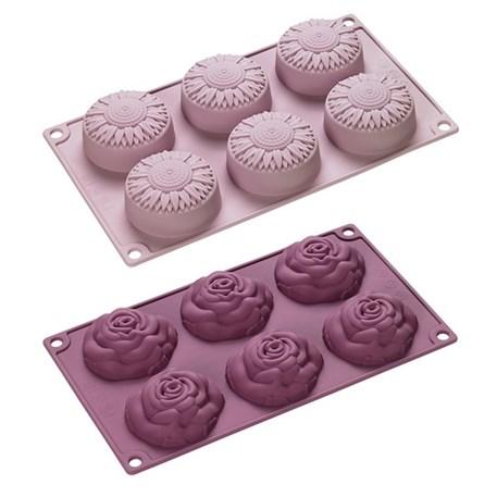 Set van 2 Siliconen Bakvormen Flowers