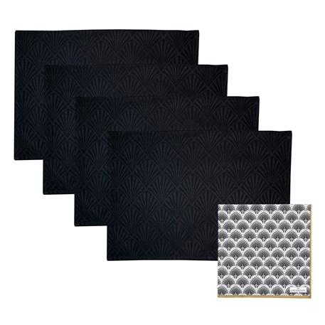 Set van 4 Jacquard Placemats & 20 Papieren Servetten | Gatsby
